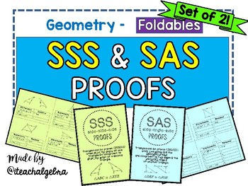 Geometry - Proving Congruence SSS and SAS - Set of 2 Foldables