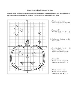 Geometry: Pumpkin Transformations for Translations, Reflections, Rotations
