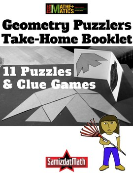 Geometry Puzzlers with Clue Games: Cut, Fold and Staple Booklets! L@@K!