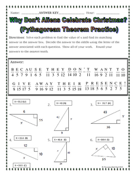 Right Triangles Pythagorean Theorem Christmas Riddle Practice