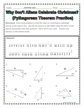 right triangles pythagorean theorem christmas riddle practice worksheet. Black Bedroom Furniture Sets. Home Design Ideas