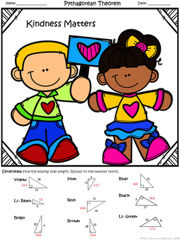 Geometry | Pythagorean Theorem | Color-by-Number Worksheet |#kindness