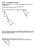 Geometry Pythagorean Theorem Notes with Answers