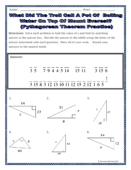 Great Right Triangles   Geometry Pythagorean Theorem Riddle Worksheet