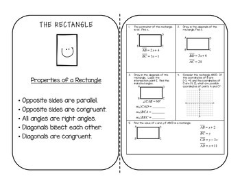 Geometry Quadrilateral Interactive Notebook