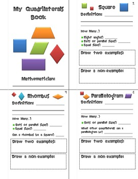 Geometry Quadrilaterals Activity Packet
