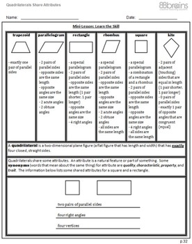 Geometry: Quadrilaterals Share Attributes pgs.32-34 (CCSS)