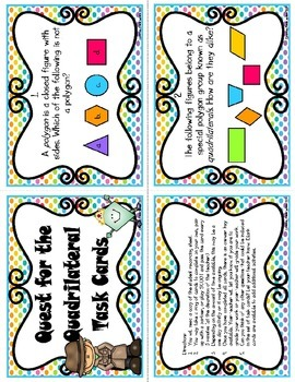 Geometry (Quadrilaterals) Task Cards (CC Aligned)