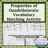 Quadrilaterals - Polygons - Vocabulary Matching Activity