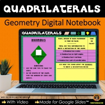 Geometry Quadrilaterals for Google Drive® Interactive Digital Notebook