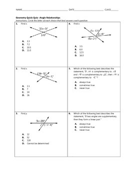 Geometry Quick Quiz - Angle Relationships