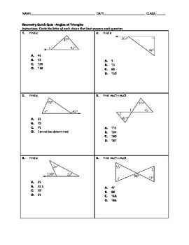 Angles of triangles quiz teaching resources teachers pay teachers geometry quick quiz angles of triangles ccuart Images