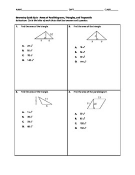 Geometry Quick Quiz - Areas of Parallelograms, Triangles, and Trapezoids