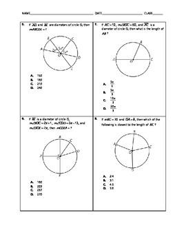 Geometry Quick Quiz - Circle Angles and Arcs