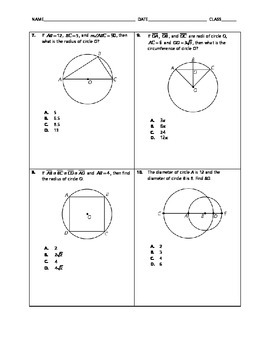 Geometry Quick Quiz - Circles and Circumference