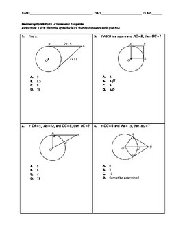Geometry Quick Quiz - Circles and Tangents