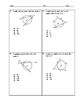 Geometry Quick Quiz - Circles with Secants and Tangents