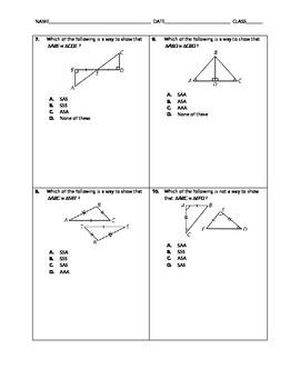 Geometry Quick Quiz - Congruent Triangles