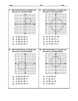 Geometry Quick Quiz - Equations of Circles