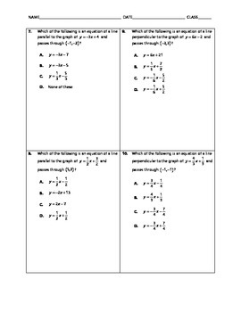Geometry Quick Quiz - Equations of Lines