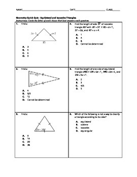 Geometry Quick Quiz - Equilateral and Isosceles Triangles