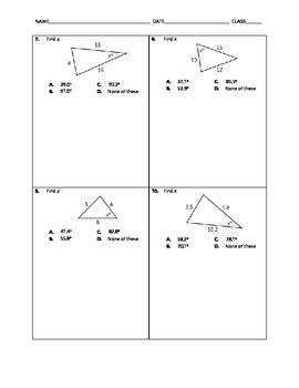 Geometry Quick Quiz - Law of Cosines