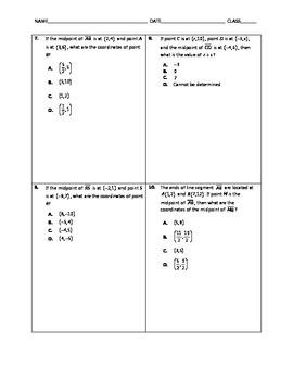 Geometry Quick Quiz - Midpoint