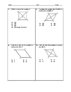 Geometry Quick Quiz - Parallelograms, Rectangles, Rhombi and Squares