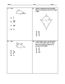 Geometry Quick Quiz - Special Right Triangles