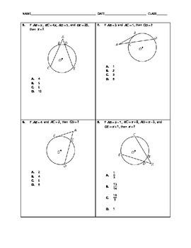 Geometry Quick Quiz - Special Segments in Circles