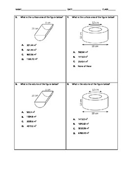 Geometry Quick Quiz - Surface Area and Volume of Cylinders