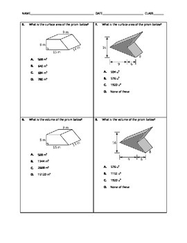 Geometry Quick Quiz - Surface Area and Volume of Prisms