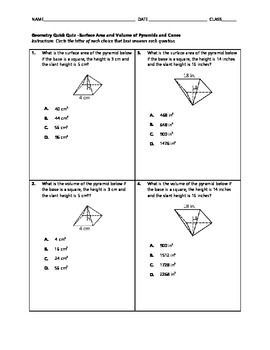 Geometry Quick Quiz - Surface Area and Volume of Pyramids and Cones