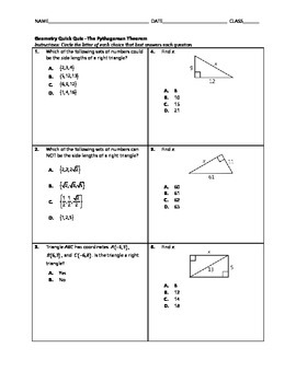 Geometry Quick Quiz - The Pythagorean Theorem