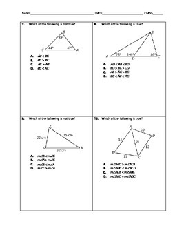 Geometry Quick Quiz - Triangle Inequalities