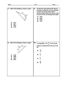 Geometry Quick Quiz - Trigonometry