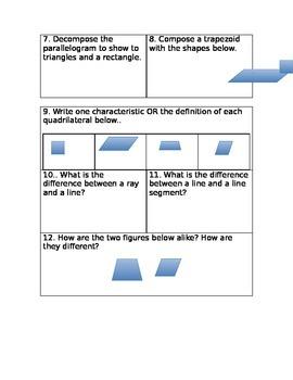 Geometry Quiz 3rd grade