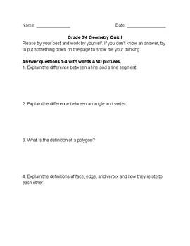 Geometry Quiz/ Activity