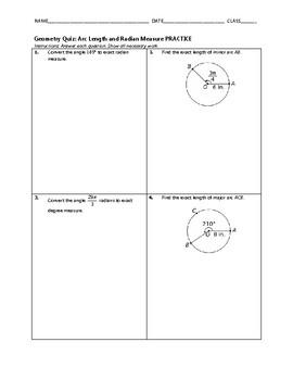 Geometry Quiz - Arc Length and Radian Measure BUNDLE