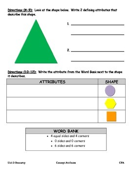 Geometry Quiz:  Attributes of Shapes