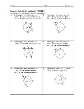 Geometry Quiz - Circles and Angles BUNDLE
