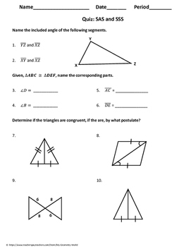 Geometry Quiz: Congruent Triangles