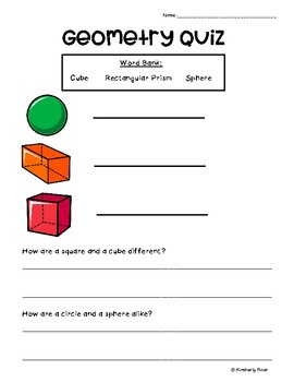 Geometry Quiz - Cube, Rectangular Prism, Sphere - Comparing and Contrasting