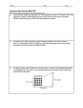 Geometry Quiz - Density BUNDLE