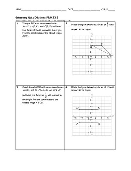 Geometry Quiz - Dilations BUNDLE