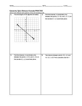 Geometry Quiz - Distance Formula BUNDLE