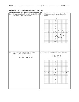 Geometry Quiz - Equations of Circles BUNDLE