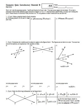 Geometry Quiz Introductory Material Fall 2013; two versions; two pages each