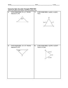 Geometry Quiz - Isosceles Triangles BUNDLE