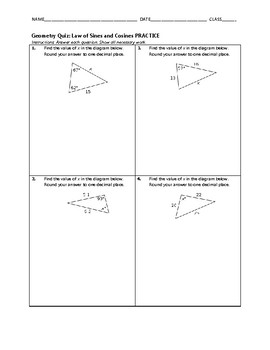 Geometry Quiz - Law of Sines and Cosines BUNDLE